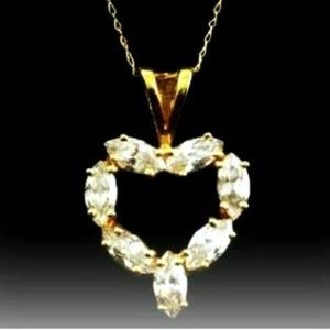 Jewelry - CZ Heart Pendant suspended from 10kt Gold Chain